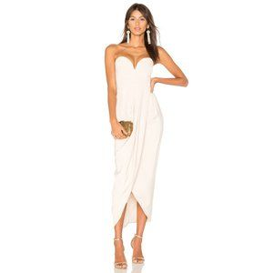 NWT Shona Joy Bustier Draped Maxi Dress Nude US 4